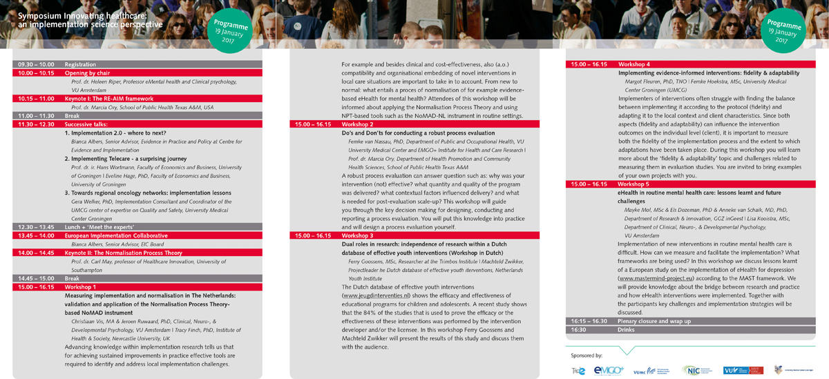 Implementation Science Symposium programme 1200